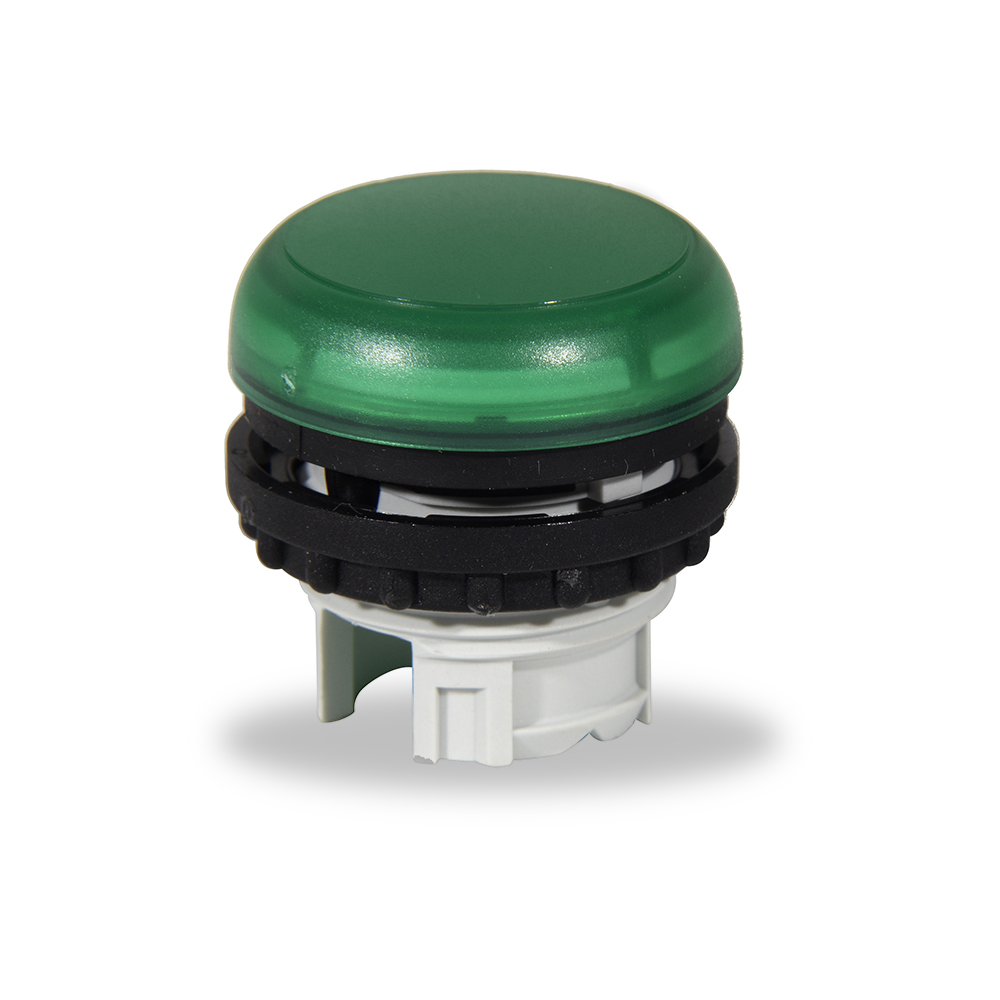 Pulsador Indicador Verde para conexiones electricas de maquinas