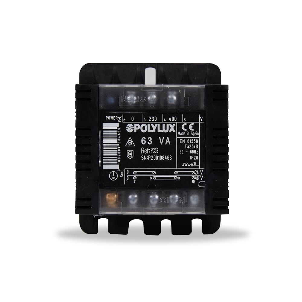 Trafo 380-220 A 48-24 63 VA para conexiones electricas de maquinas